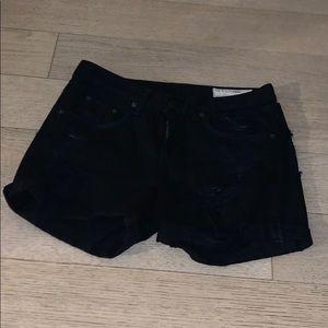 Rag & Bone black ripped denim shorts
